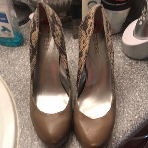 Guess snakeskin and taupe heels